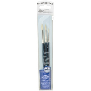 Royal & Langnickel® 9100 Series  Zip N' Close™ Dark Blue 3-Piece Brush Set 7: Short Handle, Bristle, Round, Acrylic, Oil, (model RSET-9107), price per set