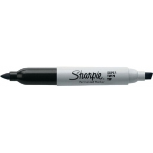 Sharpie® Super Twin Tip Black Permanent Marker: Black/Gray, Double-Ended, Chisel Nib, Fine Nib, (model SN36201), price per each