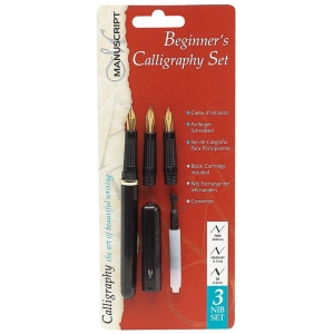 Manuscript Beginner's Calligraphy Set: Black/Gray, Fountain, Nibs Included, B-Style, Fine Nib, Medium Nib, Calligraphy