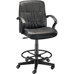 "Alvin® Art Director Executive Leather Chair Drafting Height: Arm Rest Included, Black/Gray, Foot Ring Included, 24"" - 29"", Leather, (model CH777-90DH), price per each"