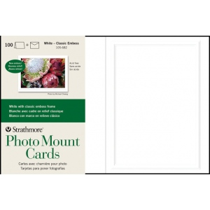"Strathmore® Embossed Photo Mount Cards 100-Pack: White/Ivory, Card, 100 Cards, 5"" x 6 7/8"", Mounting, (model ST105-682), price per 100 Cards"