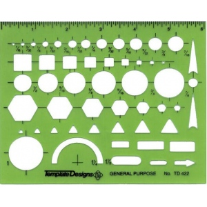 "Alvin® General Purpose Template: 4 7/8"" x 6 1/8"" x .030"", General Purpose, (model TD422), price per each"