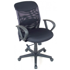 "Alvin® Salambro Mesh Fabric Manager's Office Height Chair: Arm Rest Included, Black/Gray, No, Under 24"", Fabric, (model CH726), price per each"