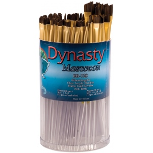 Dynasty® EB-700 Mastodon Canister Series Filbert and Angular Brush Assortment: Short Handle, Synthetic, Filbert, Acrylic, Oil, (model EB720D), price per each