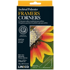 Lineco® Archival Polyester Framers Corners: Clear, Mylar, 240-Pack, (model L5330021), price per 240-Pack