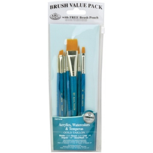 Royal & Langnickel® 9100 Series  Zip N' Close™ Teal Blue 7-Piece Brush Set 13: Short Handle, Taklon, Angular, Glaze, Liner, Round, Shader, Acrylic, Tempera, Watercolor, (model RSET-9184), price per set
