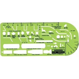 "Rapidesign® General Traffic Template: 3 7/8"" x 8"" x .030"", General Purpose, (model 130R), price per each"