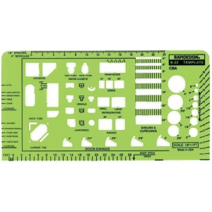 "Rapidesign® CBA Architectural Template: 1/8"" = 1', (model 33R), price per each"
