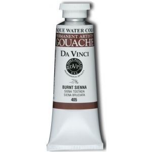 Da Vinci Artists' Gouache Opaque Watercolor 37ml Burnt Sienna: Brown, Tube, 37 ml, Gouache, Watercolor, (model DAV405), price per tube