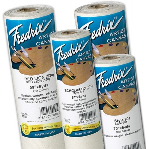"Fredrix® Artist Series 57"" x 6yd Polyflax Acrylic Primed Canvas Roll Ultrasmooth: White/Ivory, Roll, Cotton, 57"" x 6 yd, Acrylic, Primed, (model T1098), price per roll"