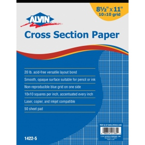 "Alvin® Cross Section Paper 10"" x 10"" Grid 50-Sheet Pad 8-1/2"" x 11"": Pad, 10"" x 10"", 50 Sheets, 8 1/2"" x 11"", Drawing, 20 lb, (model 1422-5), price per 50 Sheets pad"