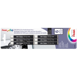 Pentel® Refill Ink Pocket Brush Pen : Black/Gray, Pigment, Refill, (model FP10BP6A), price per pack
