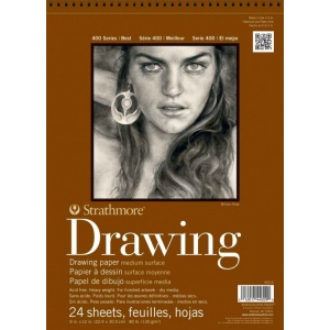 "Strathmore® 400 Series 12"" x 18"" Medium Surface Wire Bound Drawing Pad: Wire Bound, White/Ivory, Pad, 24 Sheets, 12"" x 18"", Medium, 80 lb, (model ST400-6), price per 24 Sheets pad"