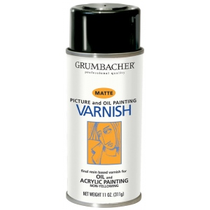 Grumbacher® Damar Matte Varnish Spray for Oil and Acrylics 11oz: Matte, Spray Can, 11 oz, Acrylic, Oil, Varnish, (model GB542), price per each