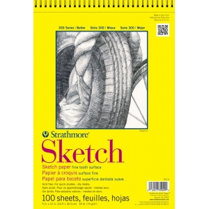 "Strathmore® 300 Series 11"" x 14"" Wire Bound Sketch Pad: Wire Bound, White/Ivory, Pad, 100 Sheets, 11"" x 14"""