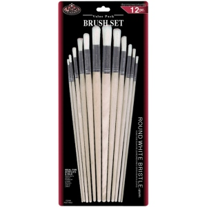 Royal & Langnickel® White Bristle Round Brush Set: Multi, White Bristle, Multi, Round, Multi, (model RSET-9602), price per set