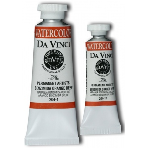 Da Vinci Artists' Watercolor Paint 15ml Benzimida Orange Deep: Orange, Tube, 15 ml, Watercolor, (model DAV204-1F), price per each