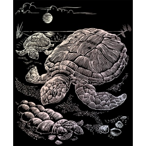 "Royal & Langnickel® Engraving Art Set Holographic Foil Sea Turtle: 8"" x 10"", Metallic, (model HOLO13), price per set"