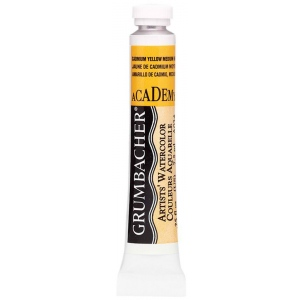 Grumbacher® Academy® Watercolor Paint 7.5ml Cadmium Yellow Medium: Yellow, Tube, 7.5 ml, Watercolor