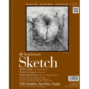 "Strathmore® 400 Series 18"" x 24"" Wire Bound Sketch Pad: Wire Bound, White/Ivory, Pad, 100 Sheets, 18"" x 24"", 60 lb, (model ST455-18), price per 100 Sheets pad"