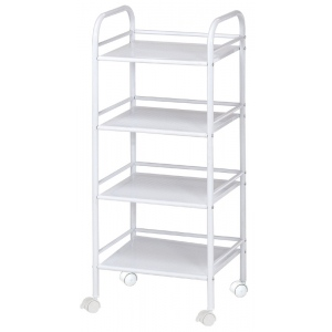 "Blue Hills Studio™ Storage Cart 4-Shelf White: White/Ivory, Plastic, 4-Shelf, 12""d x 14 1/2""w x 29 3/4""h"
