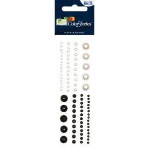 "Blue Hills Studio™ ColorStories™ Adhesive Pearls White: White/Ivory, Pearl, 2"" x 5 3/4"", Dimensional, (model BHS10703), price per each"