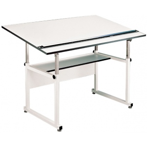 "Alvin® WorkMaster® Table White Base White Top 37 1/2 "" x 60"": 0 - 40, White/Ivory, Steel, 29"" - 46"", White/Ivory, Melamine, 37 1/4"" x 60"", (model WM60-4-XB), price per each"