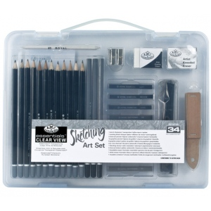 Royal & Langnickel® Sketching Clear View Small Art Case Set: Black/Gray, Drawing, (model RSET-ART3105), price per set
