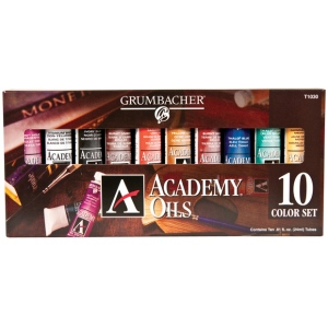 Grumbacher® Academy® Oil Paint 10-Color Set: Multi, Tube, 24 ml, Oil, (model GBT1030SET), price per set