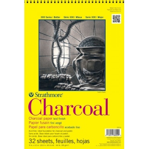"Strathmore® 300 Series 9"" x 12"" White Wire Bound Charcoal Pad: Wire Bound, White/Ivory, Laid, Pad, 32 Sheets, 9"" x 12"", Charcoal, 64 lb, (model ST330-9), price per 32 Sheets pad"