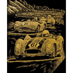 "Royal & Langnickel® Engraving Art Set Gold Foil Nostalgic Race Cars: 8"" x 10"", Metallic, (model GOLF25), price per set"