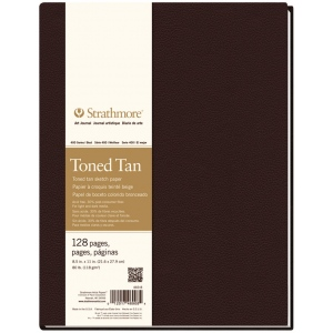 "Strathmore® 400 Series 8 1/2"" x 11"" Sewn Bound Toned Tan Sketch Art Journal: White/Ivory, Journal, 128 Sheets, 8 1/2"" x 11"", Sketching"
