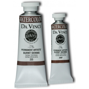 Da Vinci Artists' Watercolor Paint 15ml Burnt Sienna: Brown, Tube, 15 ml, Watercolor, (model DAV205F), price per tube