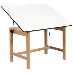 Alvin® Titan Solid Oak Office Table Natural Finish angle adjustment