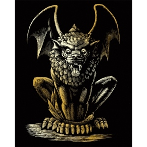 "Royal & Langnickel® Engraving Art Set Gold Foil Lion Gargoyle: 8"" x 10"", Metallic"