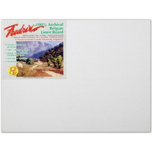 "Fredrix® PRO Series 16 x 20 Archival Linen Canvas Board: White/Ivory, Panel/Board, Linen, 16"" x 20"", Archival, (model T3432), price per each"