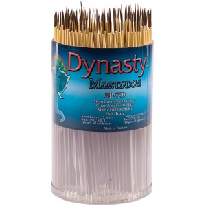Dynasty® EB-700 Mastodon Canister Series Short Liner and Long Liner Brush Assortment: Short Handle, Synthetic, Liner, Acrylic, Oil