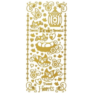 "Dazzles™ Stickers Gold Tweat Heart: Metallic, 4"" x 9"", Outline, (model HOTP1619), price per each"
