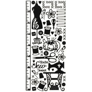"Dazzles™ Stickers Black Sewing: Black/Gray, 4"" x 9"", Outline, (model HOTP1672), price per each"