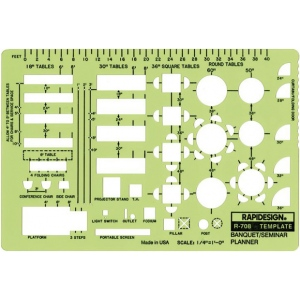 "Rapidesign® Banquet/Seminar/Conference Planner Template: 1/4"" = 1', (model 708R), price per each"