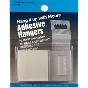 Moore Adhesive Hanger: White/Ivory, Plastic, Square, (model M86), price per pack
