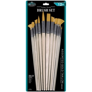 Royal & Langnickel® Gold Taklon Combo Brush Set: Multi, Gold Taklon, Multi, Multi