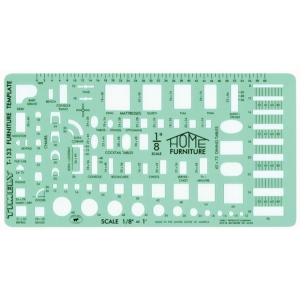 "Timely® 1/8"" Scale Furniture Template: 1/8"" = 1', (model 133T), price per each"