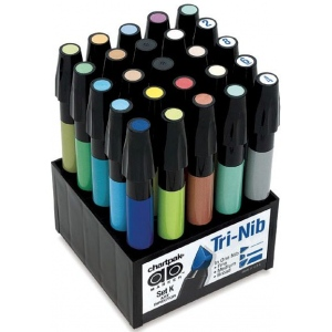 Chartpak® AD™ Marker 25-Color Art Director Set: Multi, Xylene-Based, Fine Nib, (model SETK), price per set