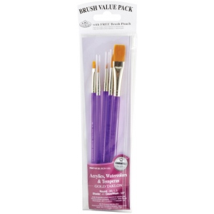 Royal & Langnickel® 9100 Series Zip N' Close™ Purple 5-Piece Brush Sets