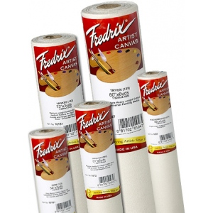 "Fredrix® Artist Series 61 x 6yd Unprimed Cotton Canvas Roll: White/Ivory, Roll, Cotton, 61"" x 6 yd, Acrylic, Primed, (model T1072), price per roll"