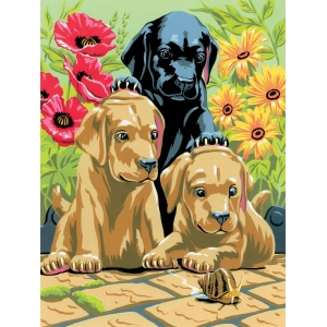 "Royal & Langnickel® Painting by Numbers™ 8 3/4 x 11 3/8 Junior Small Set Labrador Pups: 8 3/4"" x 11 3/8"""