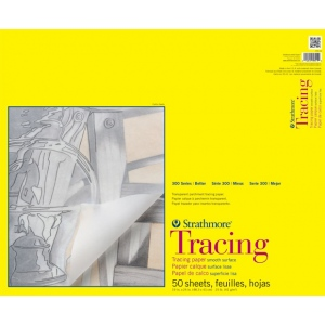 "Strathmore® 300 Series 19"" x 24"" Tape Bound Tracing Pad: Tape Bound, Pad, 50 Sheets, 19"" x 24"", Smooth, 25 lb, (model ST370-19), price per 50 Sheets pad"