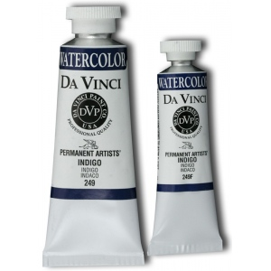 Da Vinci Artists' Watercolor Paint 15ml Indigo: Black/Gray, Blue, Tube, 15 ml, Watercolor, (model DAV249F), price per tube