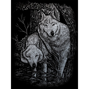 "Royal & Langnickel® Engraving Art Set Silver Foil Wolves in Trees: 8"" x 10"", Metallic, (model SILF23), price per set"